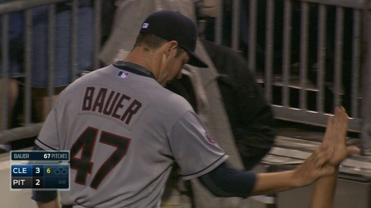 Bauer holds Pirates to two runs