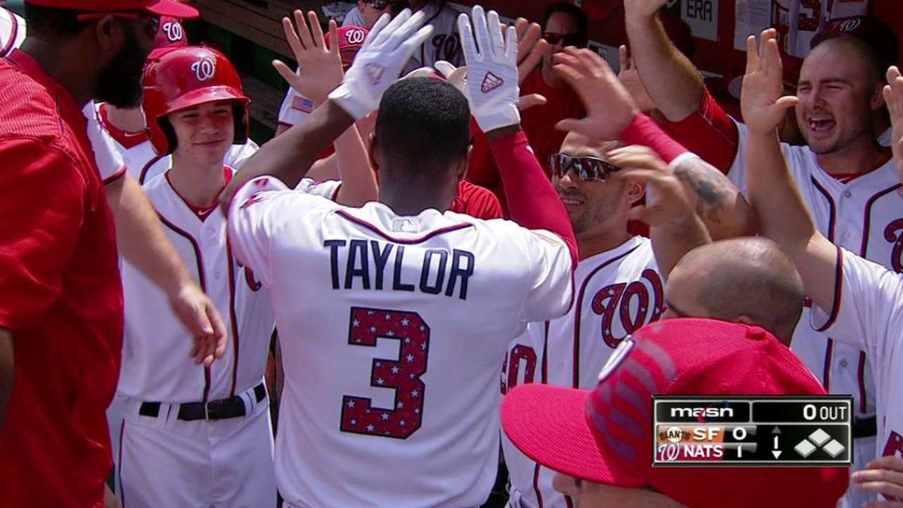 Taylor's leadoff home run