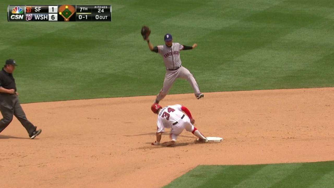 Blanco attempts pickoff from CF