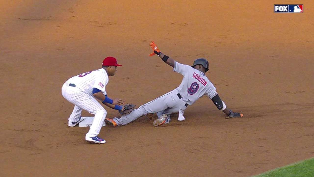 Gordon steals second base