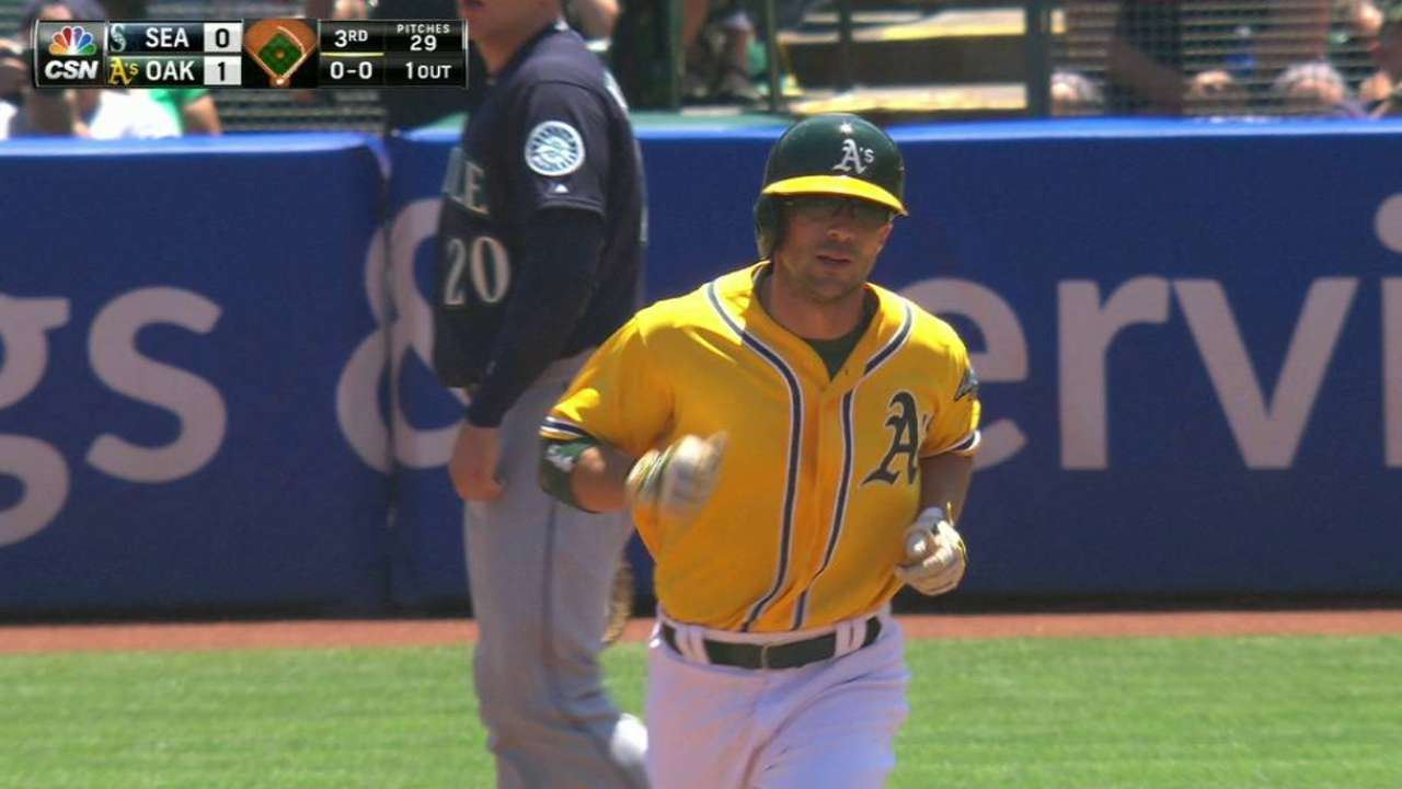 Fuld hits first homer of season, but A's fall short
