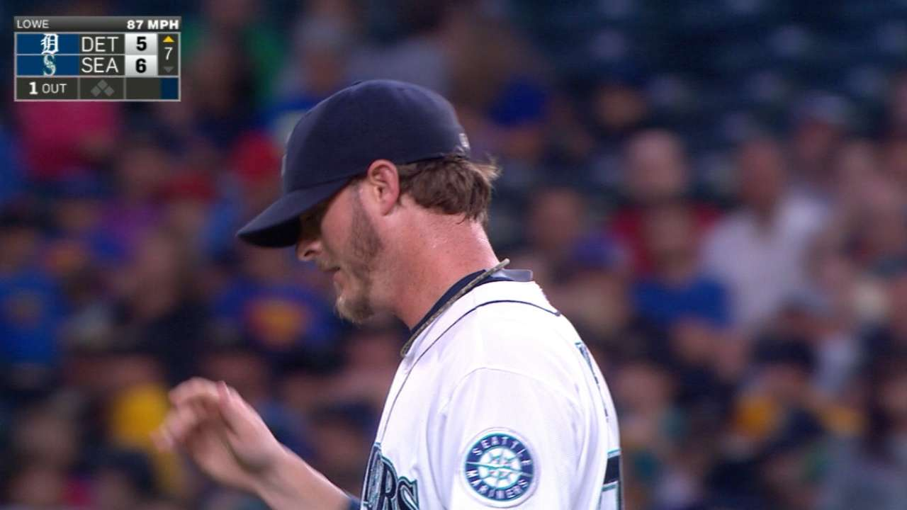 Lowe strikes out the side