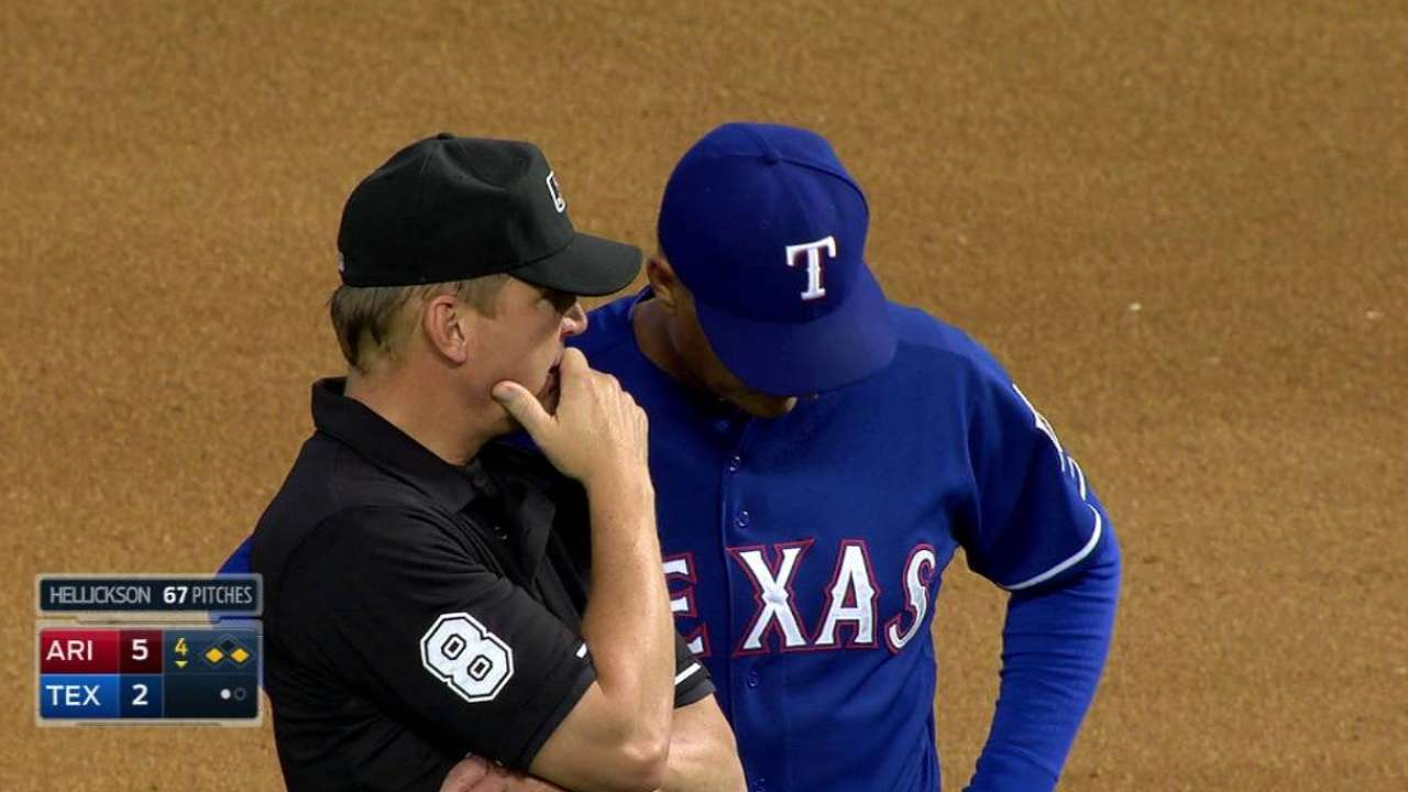 Andrus safe at second on review