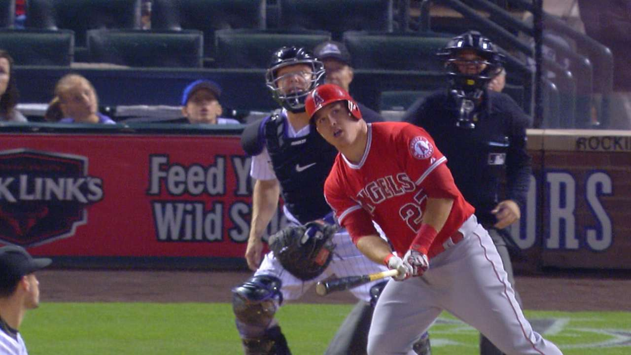 Trout's clouts, Giavotella's heroics win it for Angels
