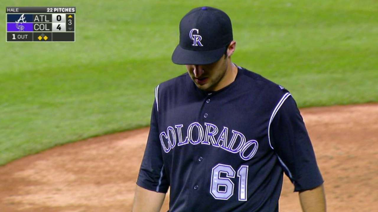 Hale pitches after delay, exits with groin strain