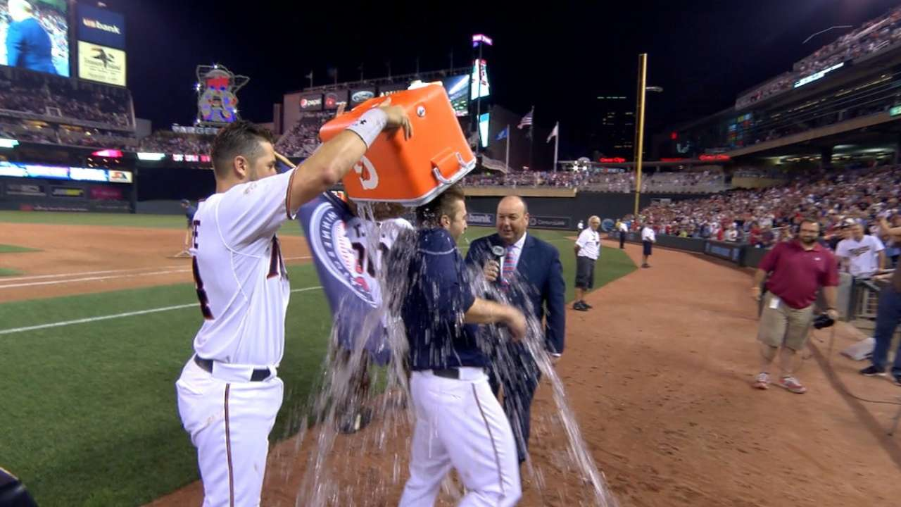 Dozier on walk-off, gets doused