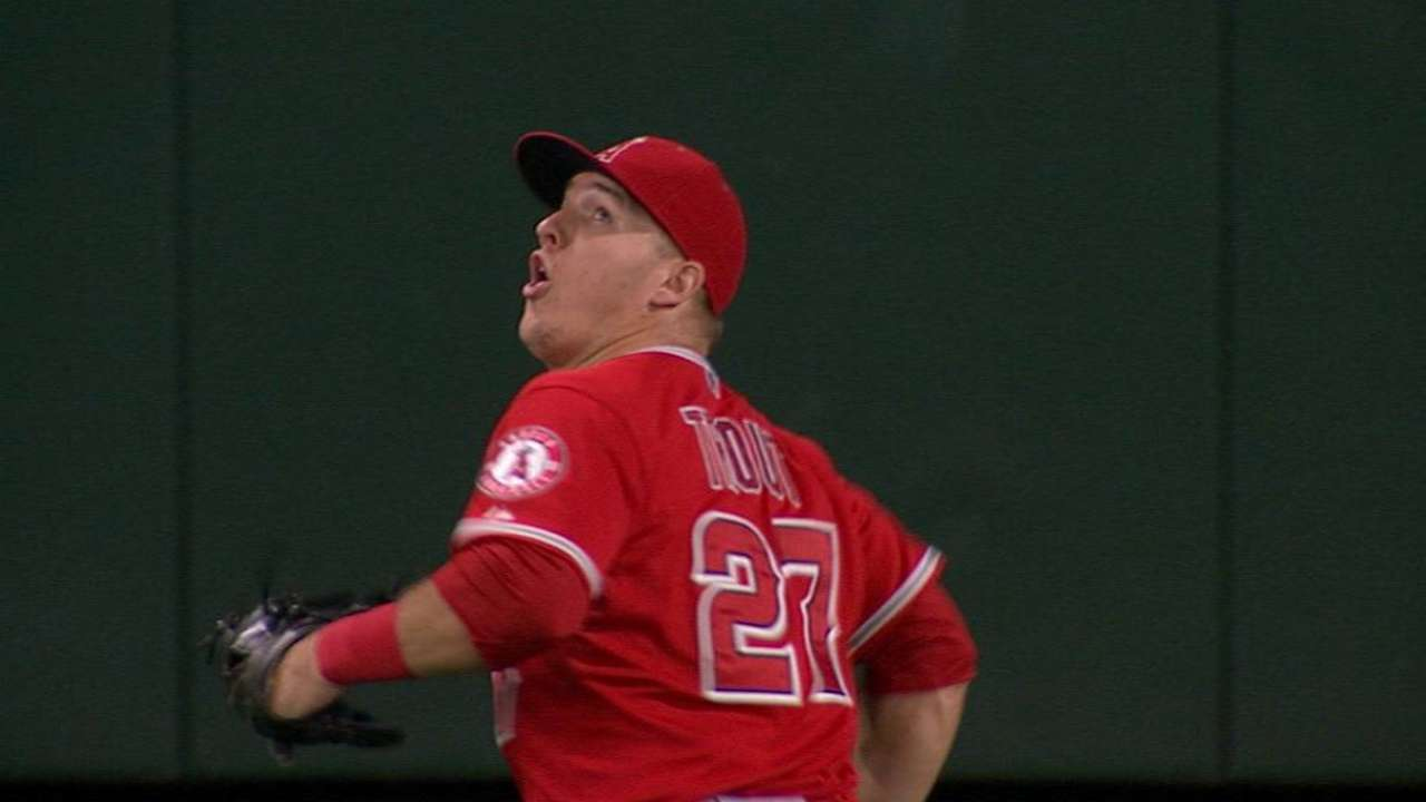 Trout's jumping catch