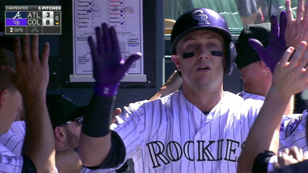 Rockies power to 4-game sweep of Braves