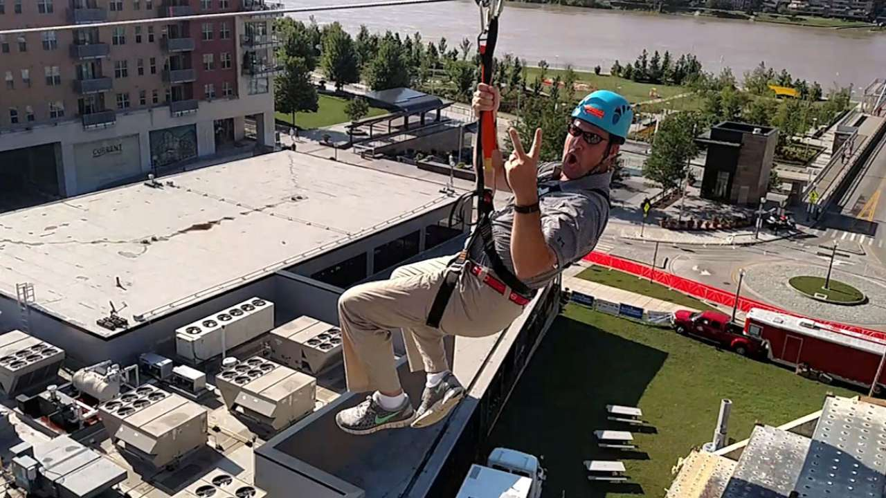 Reds COO rides the zip line