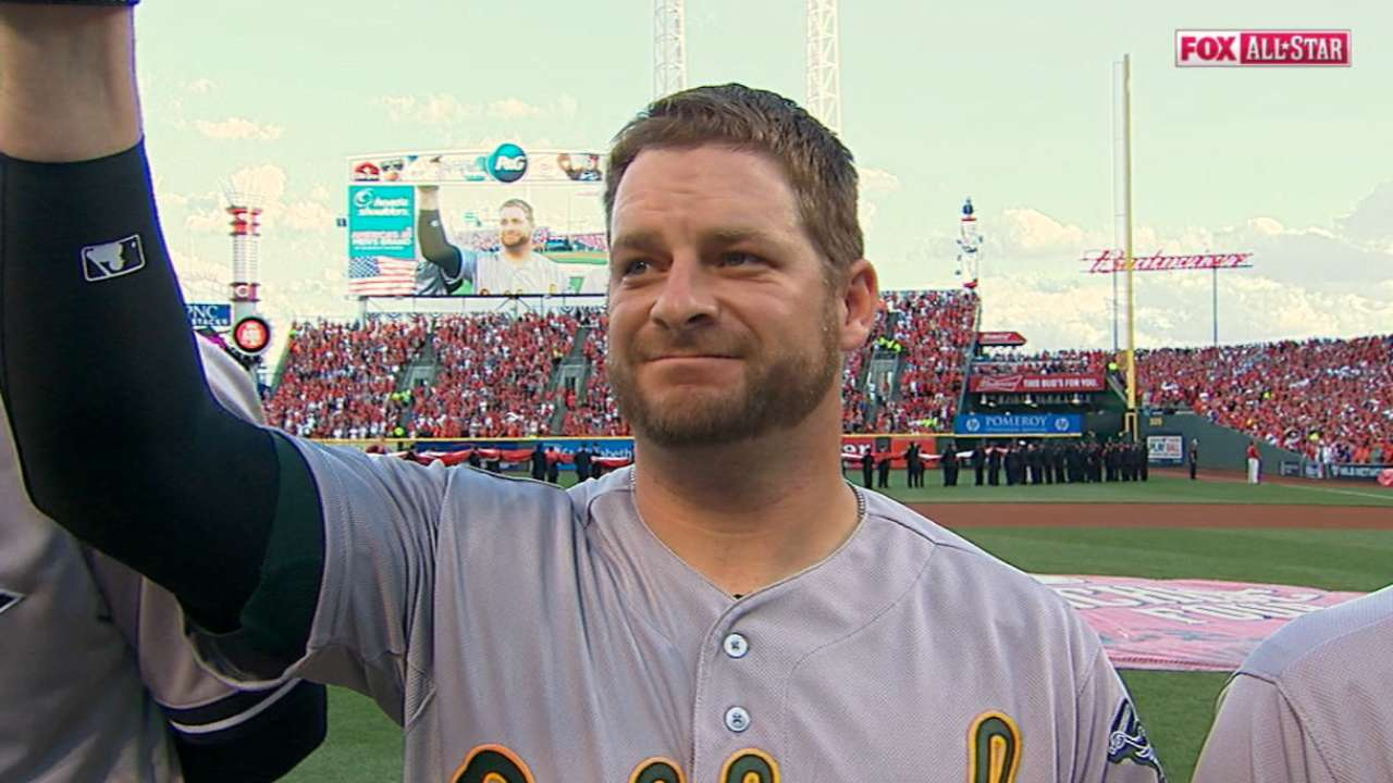 A's Vogt, Gray introduced at ASG