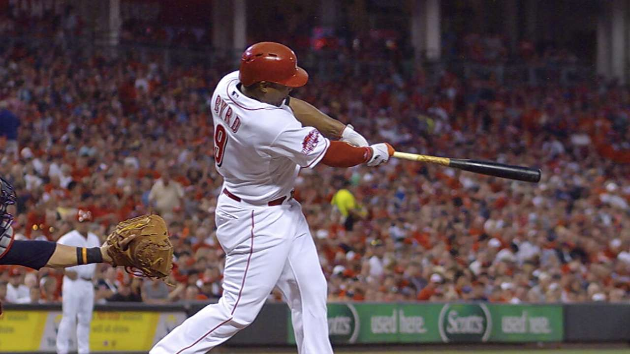 Byrd flirts with cycle in four-hit game