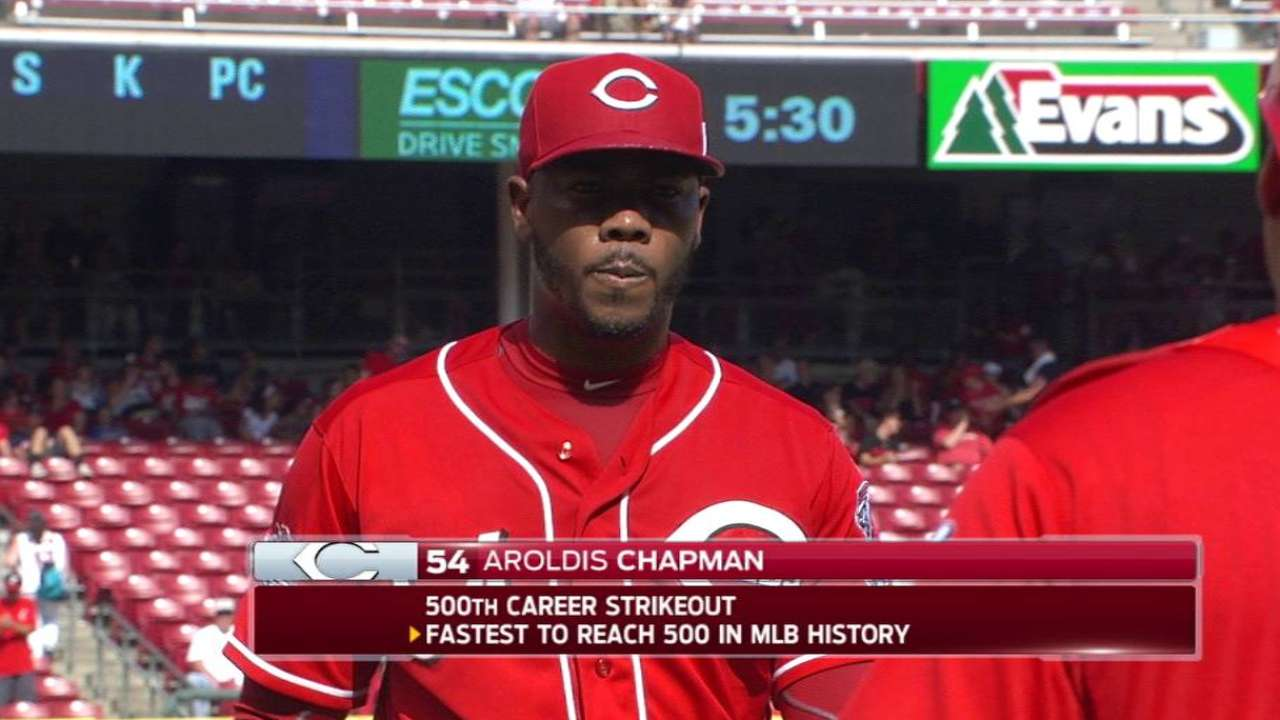 Chapman notches 500th career K