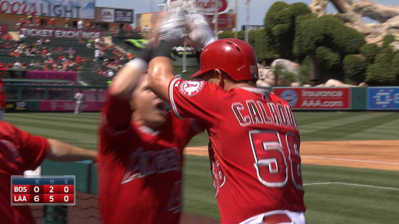 With big 2nd, Angels rout Red Sox in Game 1