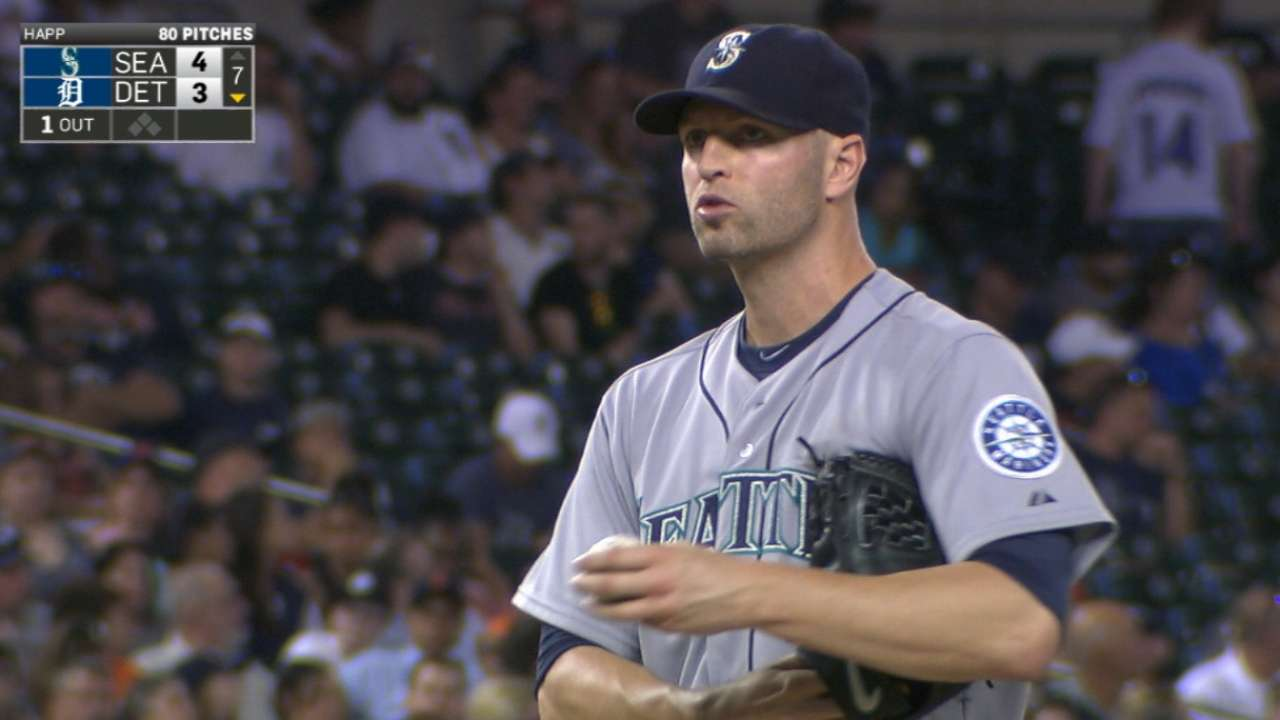 Happ returns from layoff with strong effort