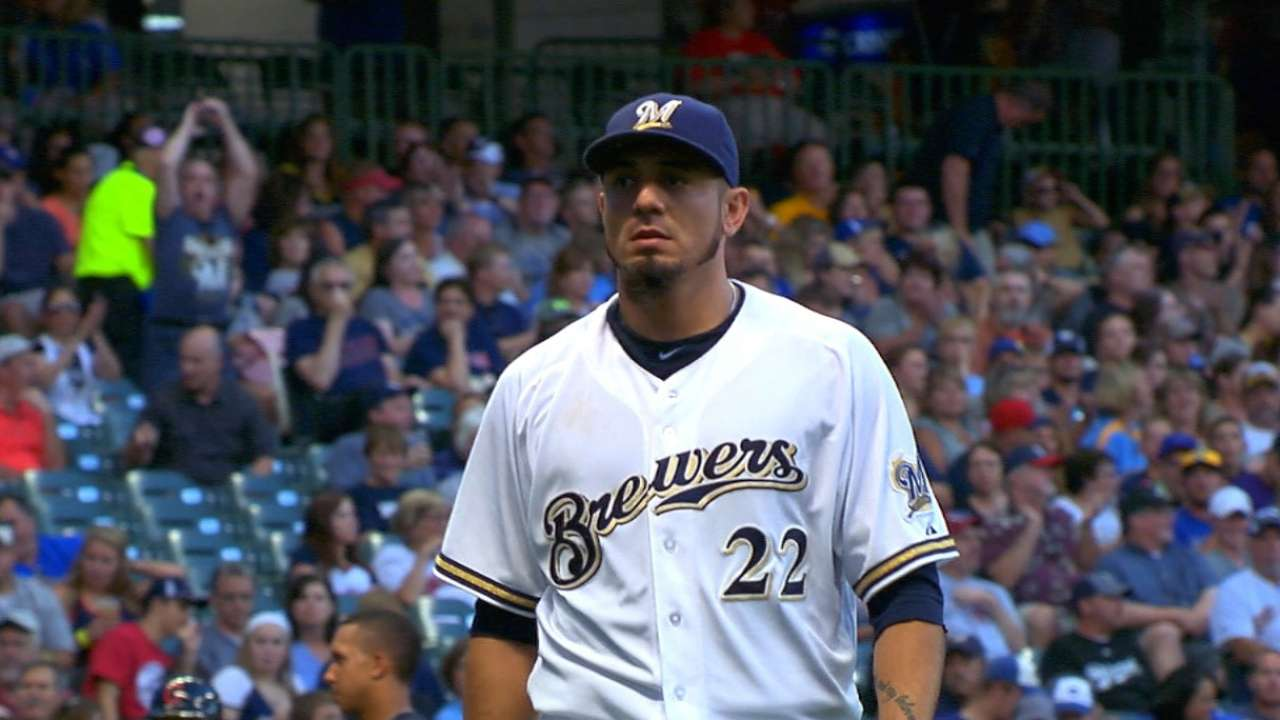 Back from DL, Garza stars in Brewers' victory