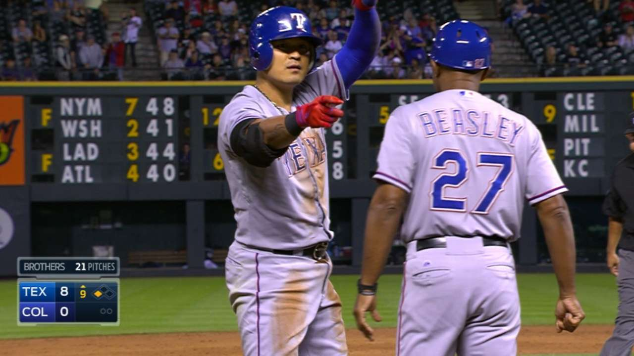 Choo triples in 9th for Rangers' 8th cycle