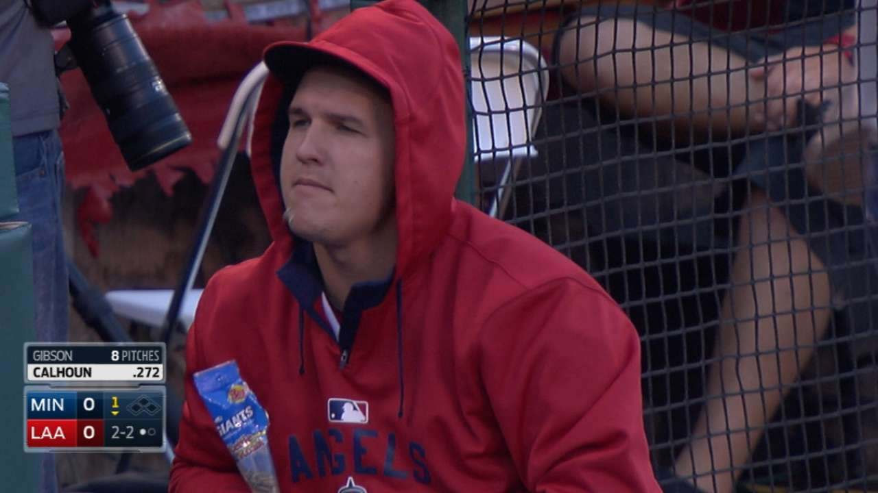 Trout misses first game of '15 with sore heel