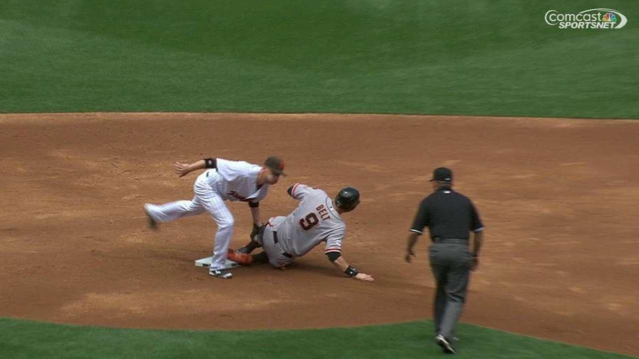 Belt steals second base