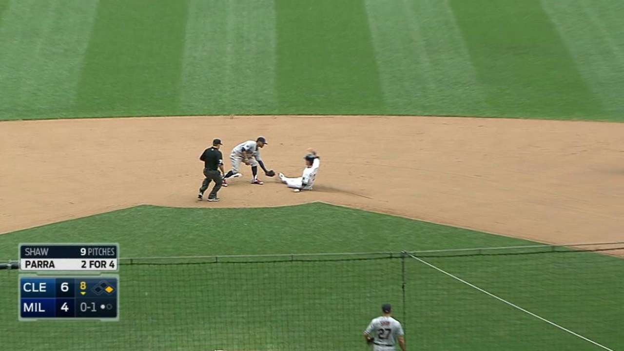Indians turn a double play