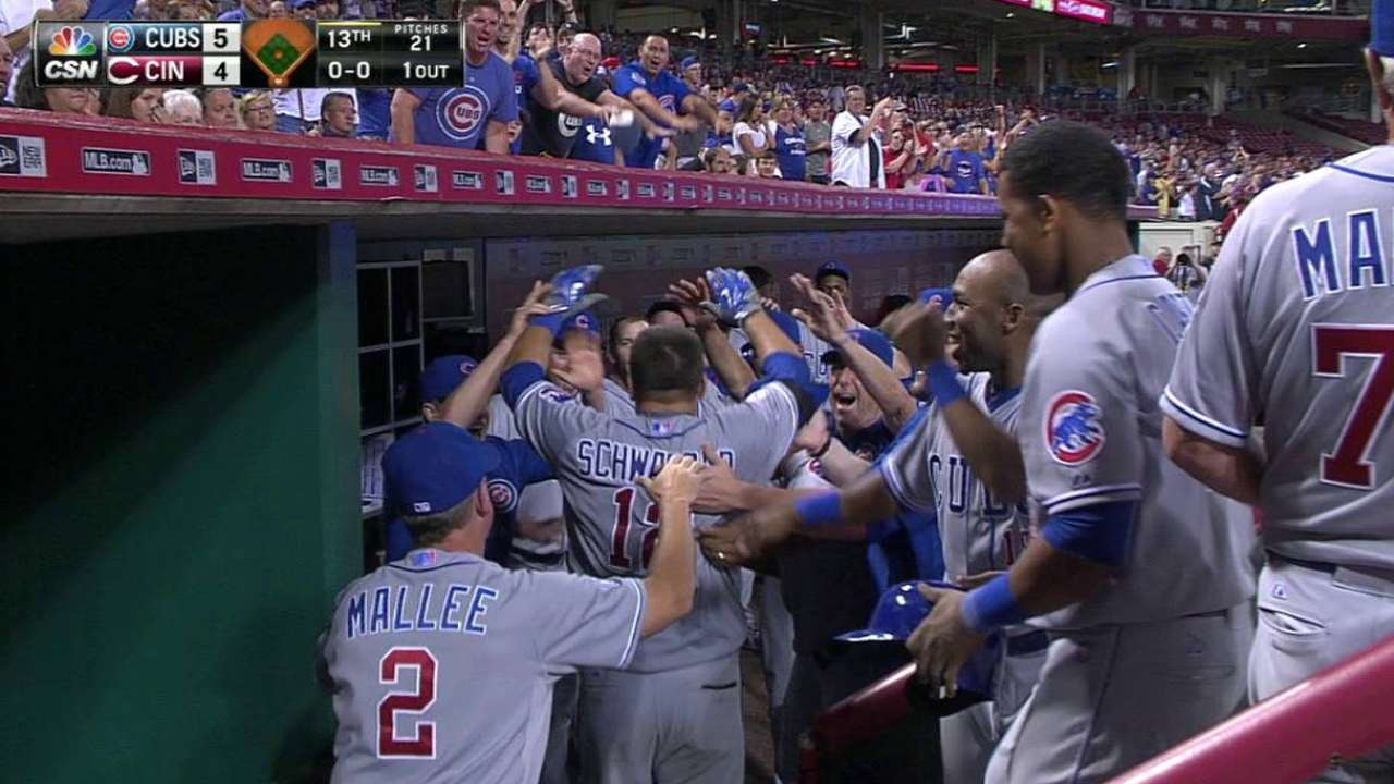 Cubs outlast Reds in 13th on Schwarber's HRs