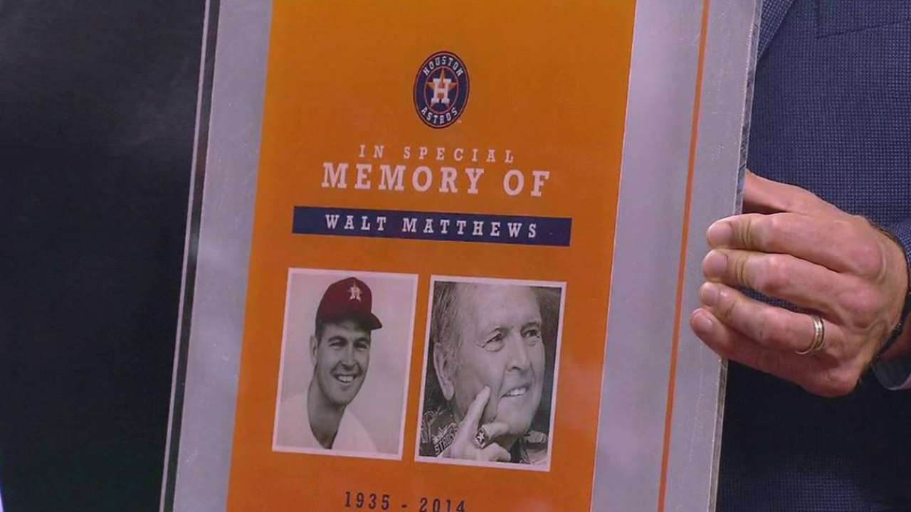 Astros honor life of longtime scout Matthews