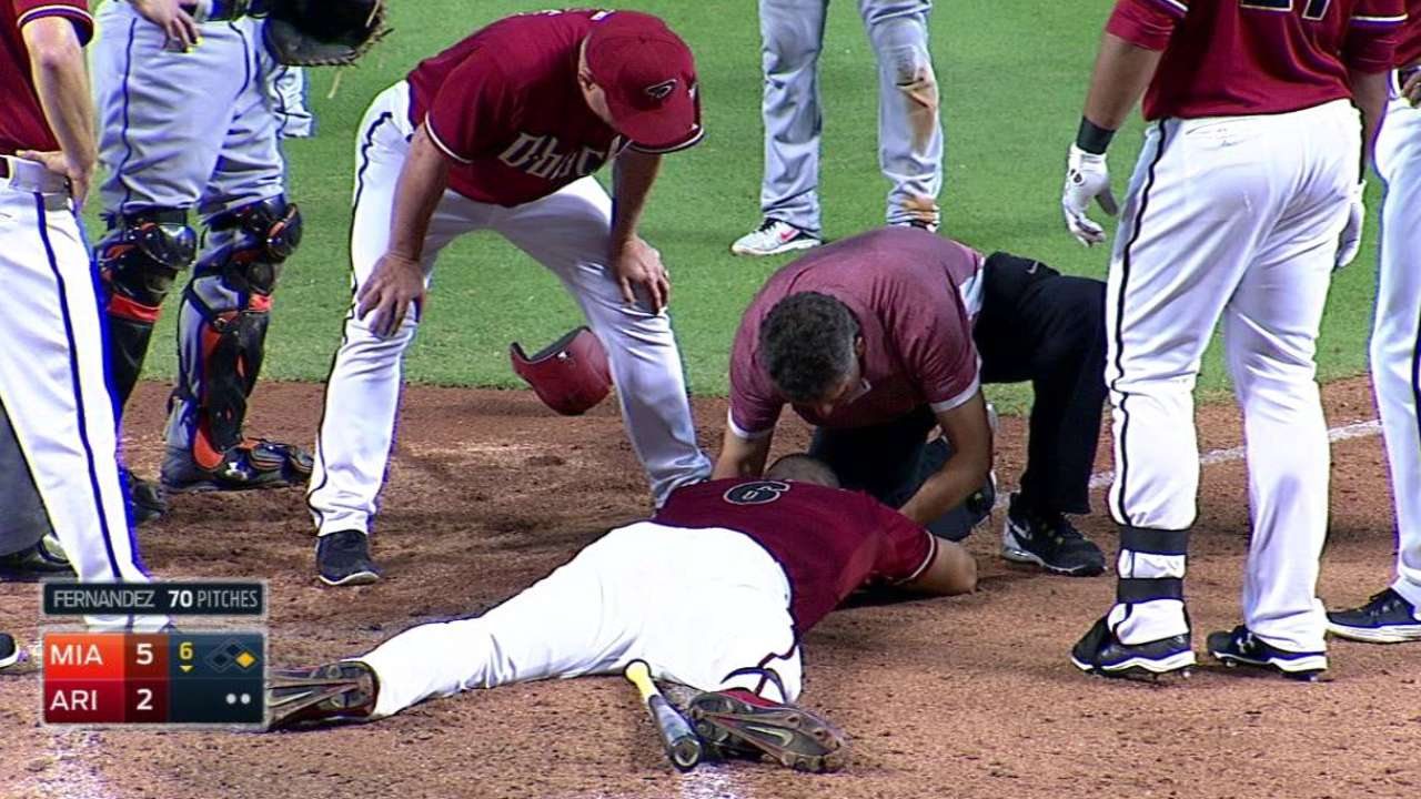 Peralta feels fine after beaning by Fernandez