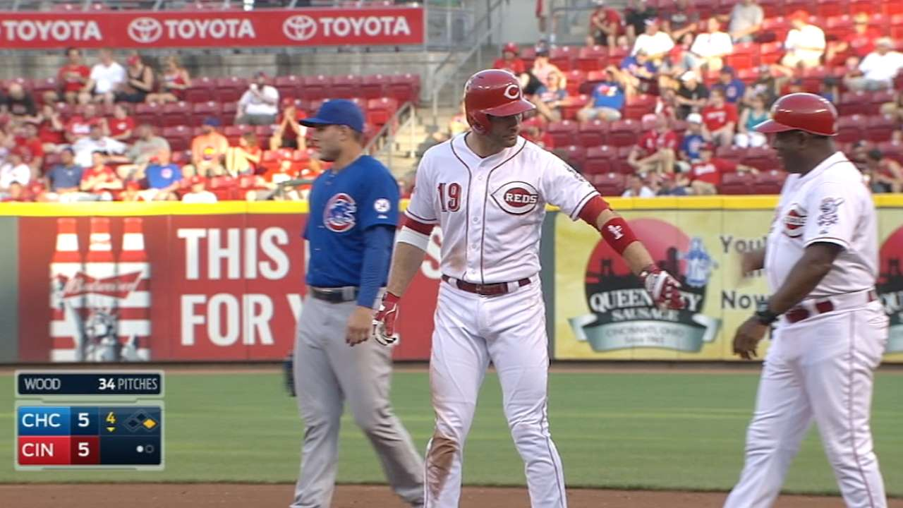 Votto reaches base nine times in one day