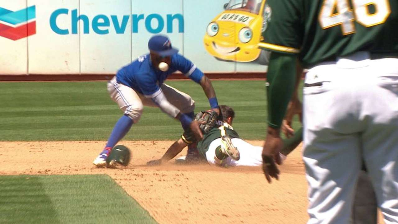 Reyes OK after being struck by a ball in face