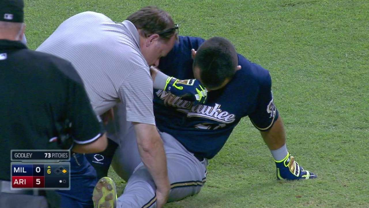Parra hit by pitch, stays in