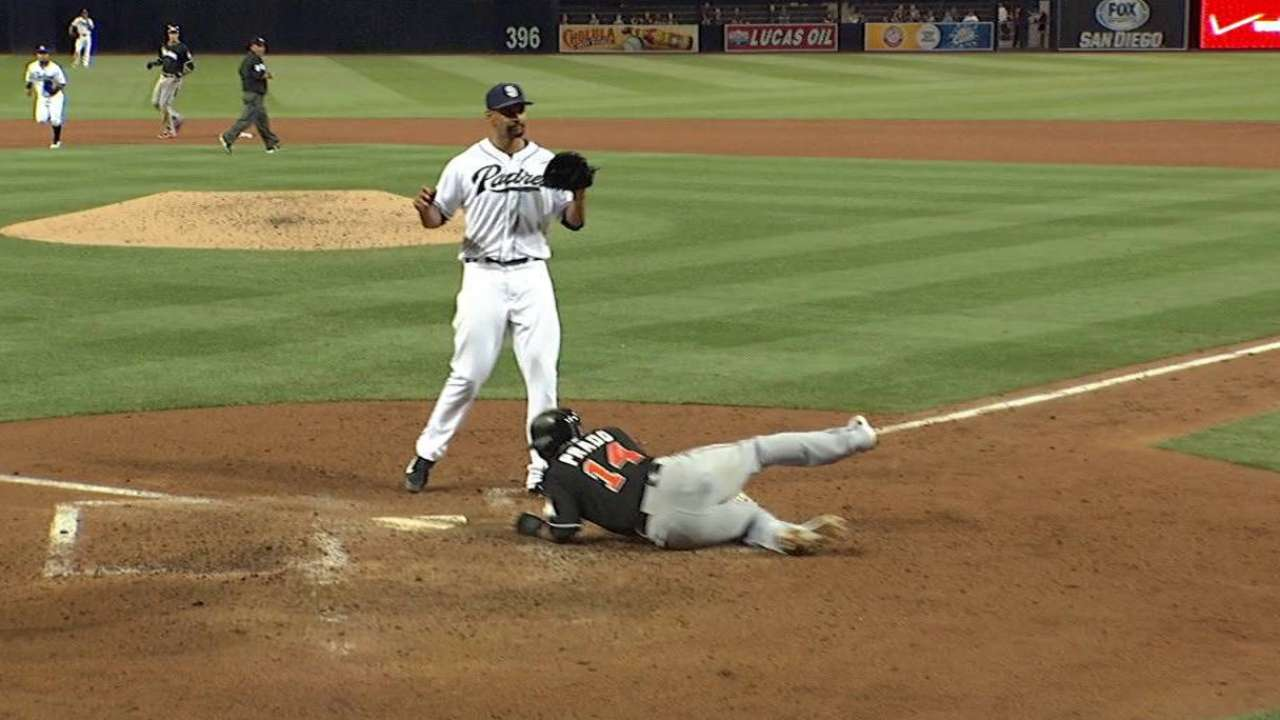Prado scores on wild pitch