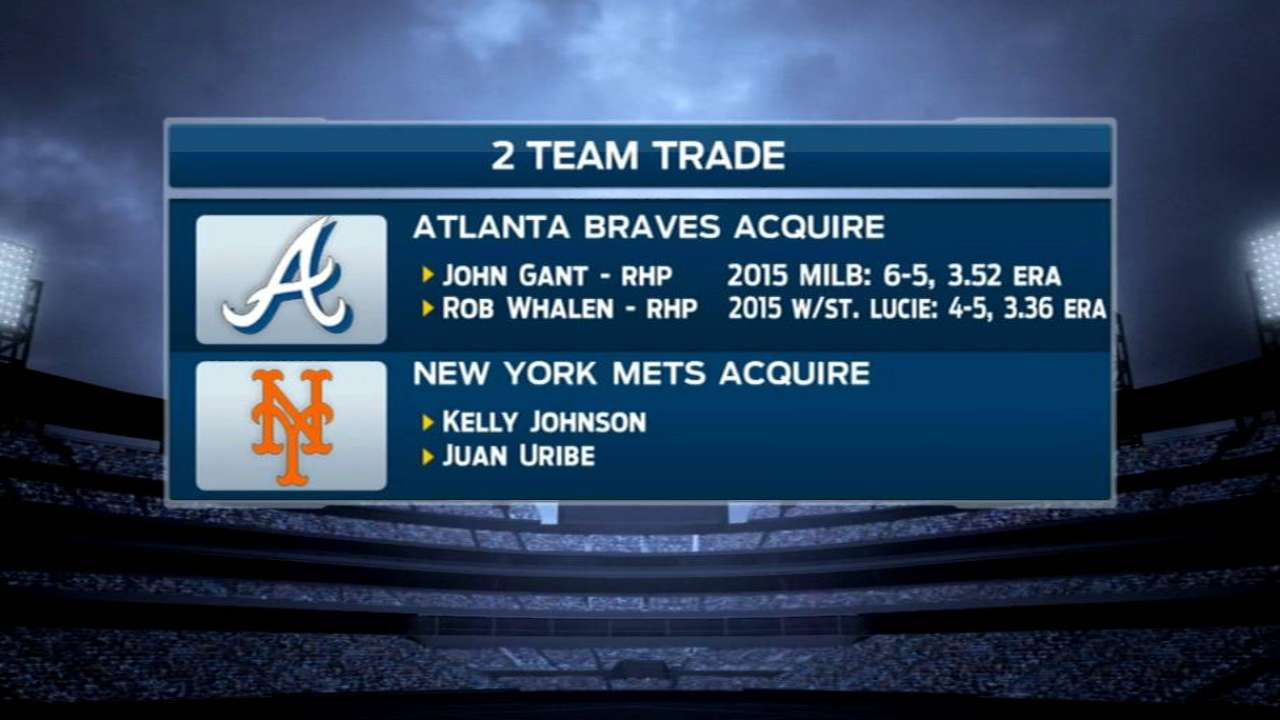 Mets get Braves' Uribe, K. Johnson in trade