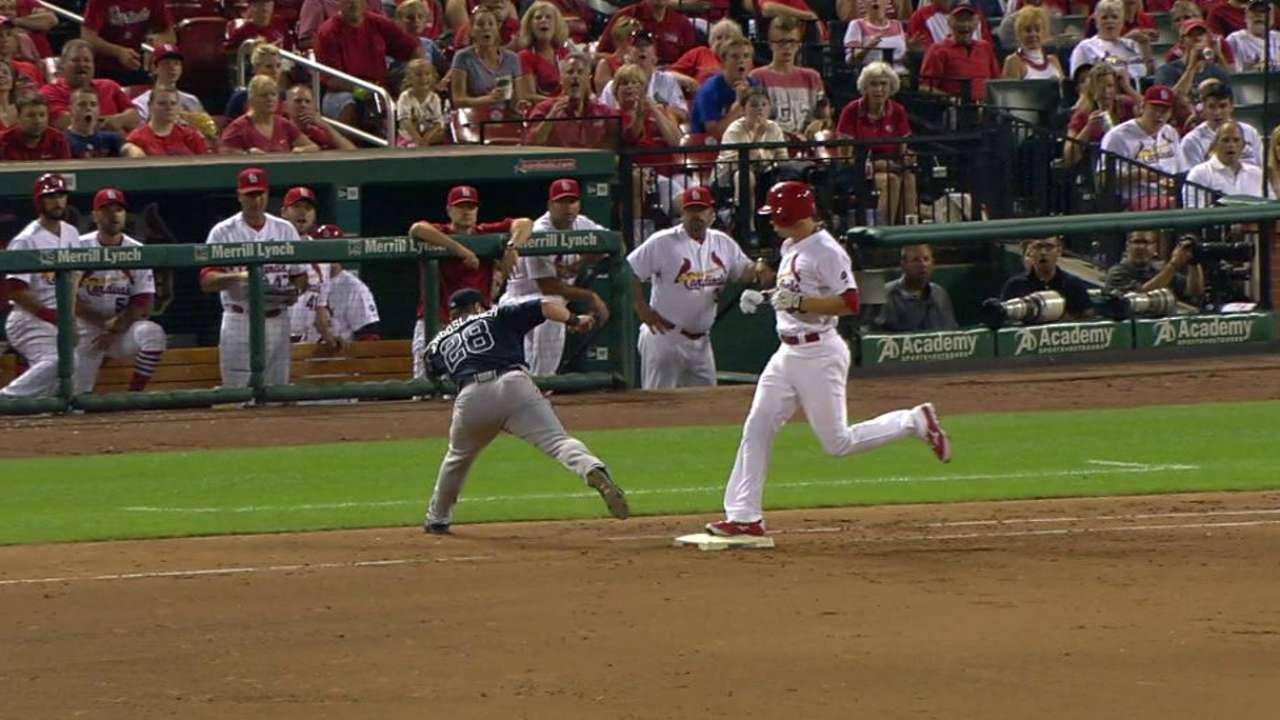 Piscotty reaches, call stands
