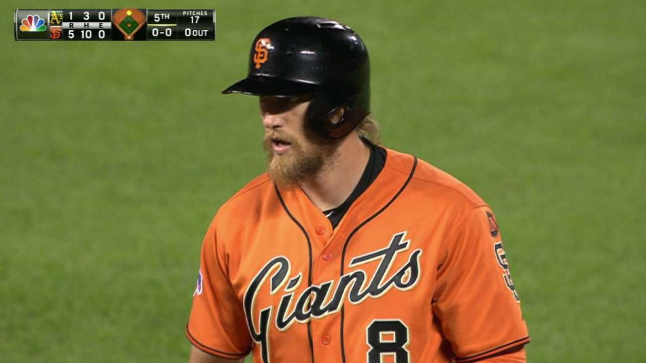 Peavy, Pence lead Giants to win over A's