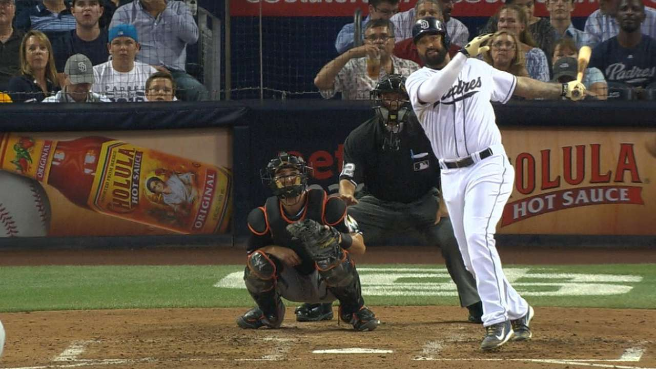 Padres topple Marlins with three solo shots