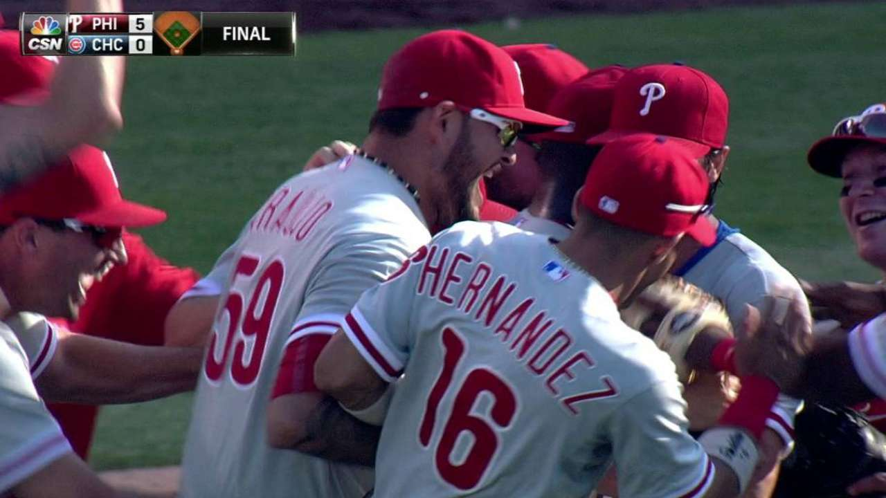 Hamels celebrates, 'can't dwell' on achievement