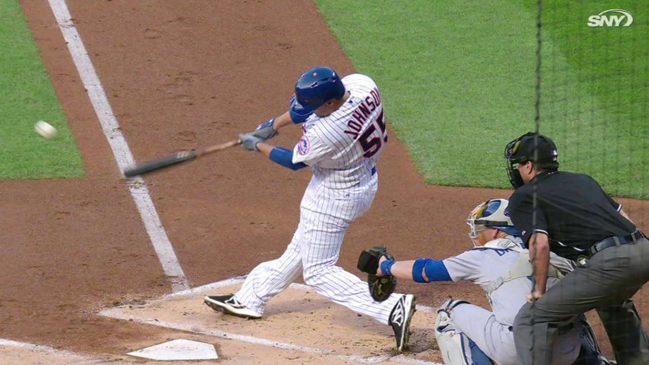 Johnson's first hit as a Met