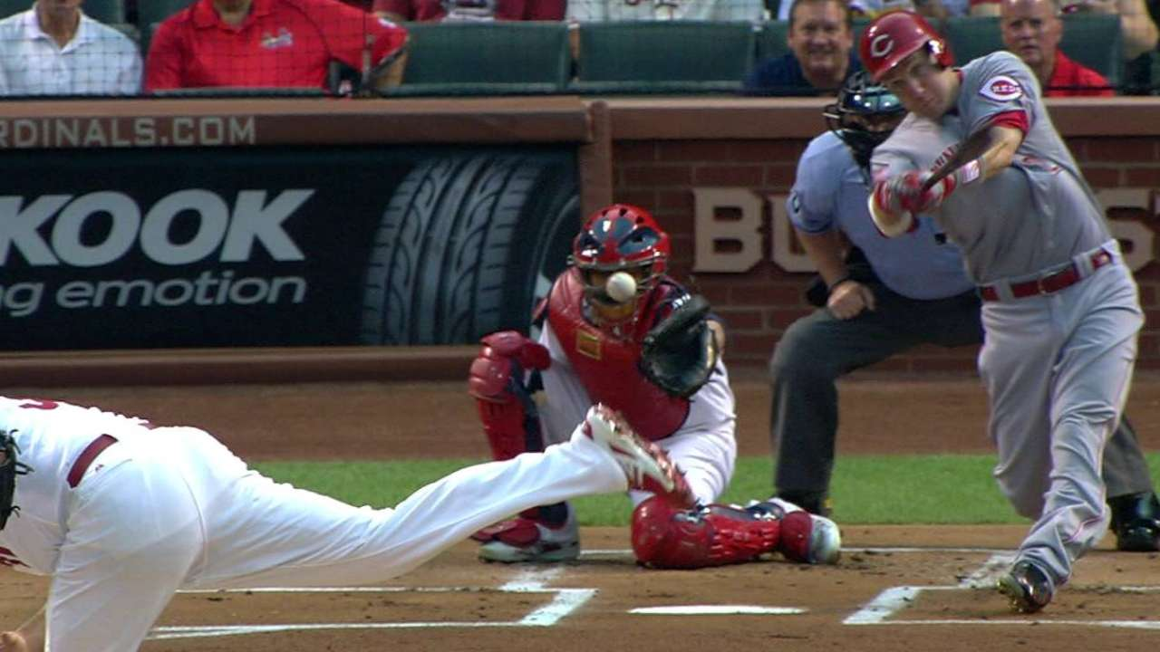 Molina struck by foul ball