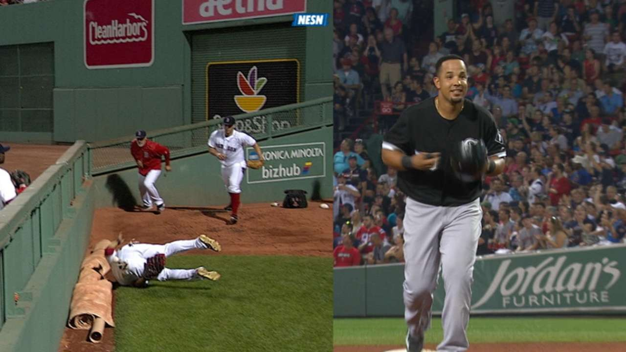 Betts flies over fence on catch-turned-homer