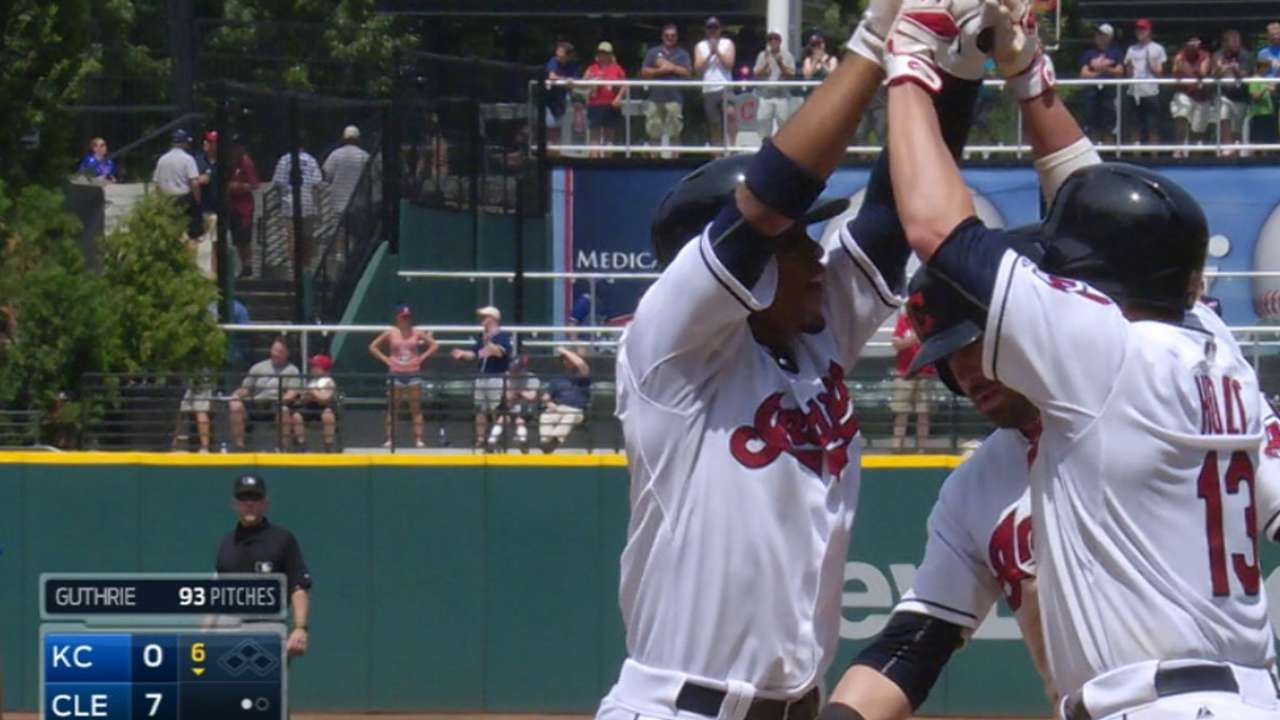 Indians' offense breaks out in big way