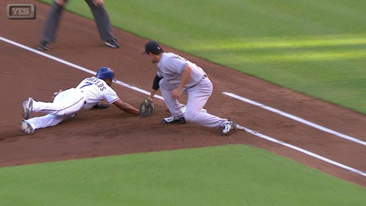 Tanaka throws out DeShields