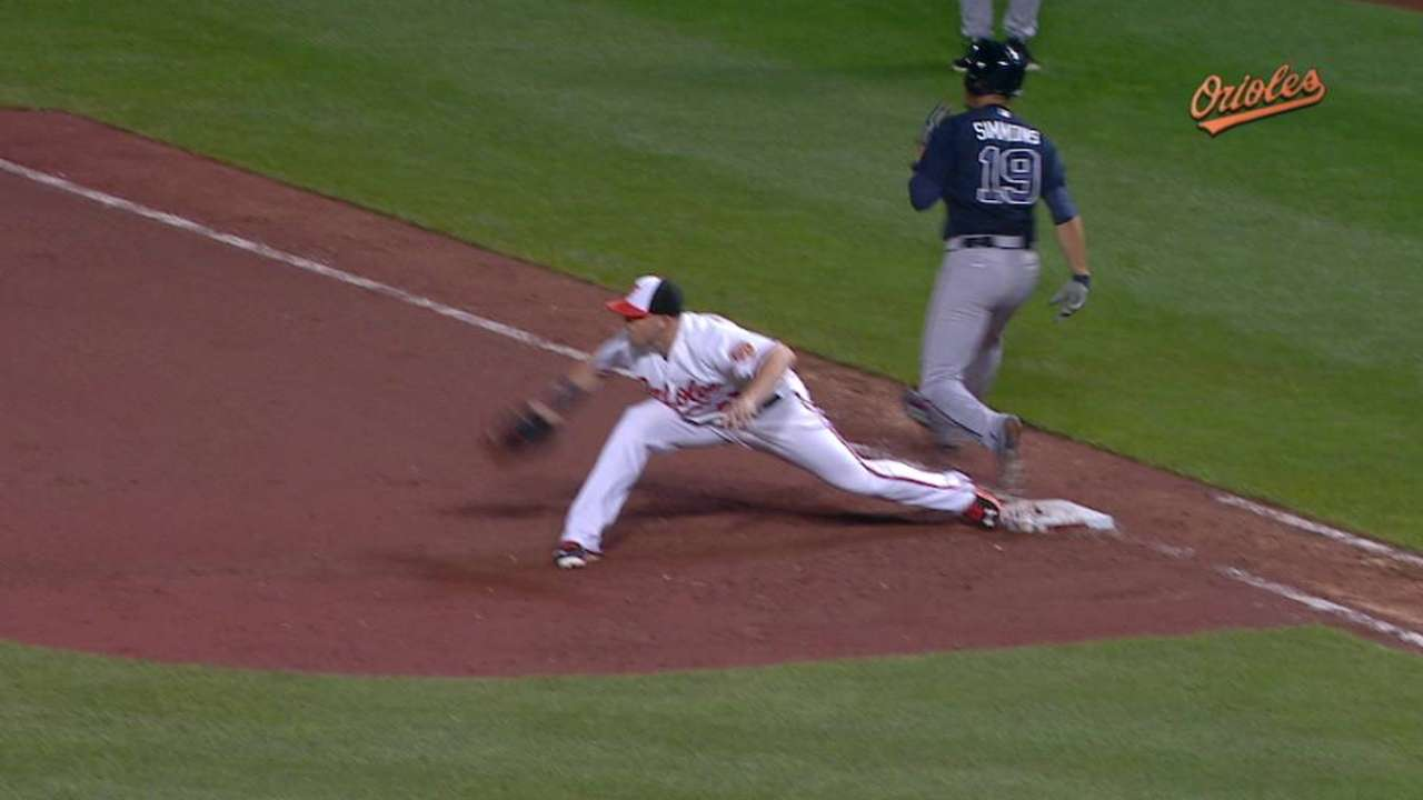 Wieters' out at first stands