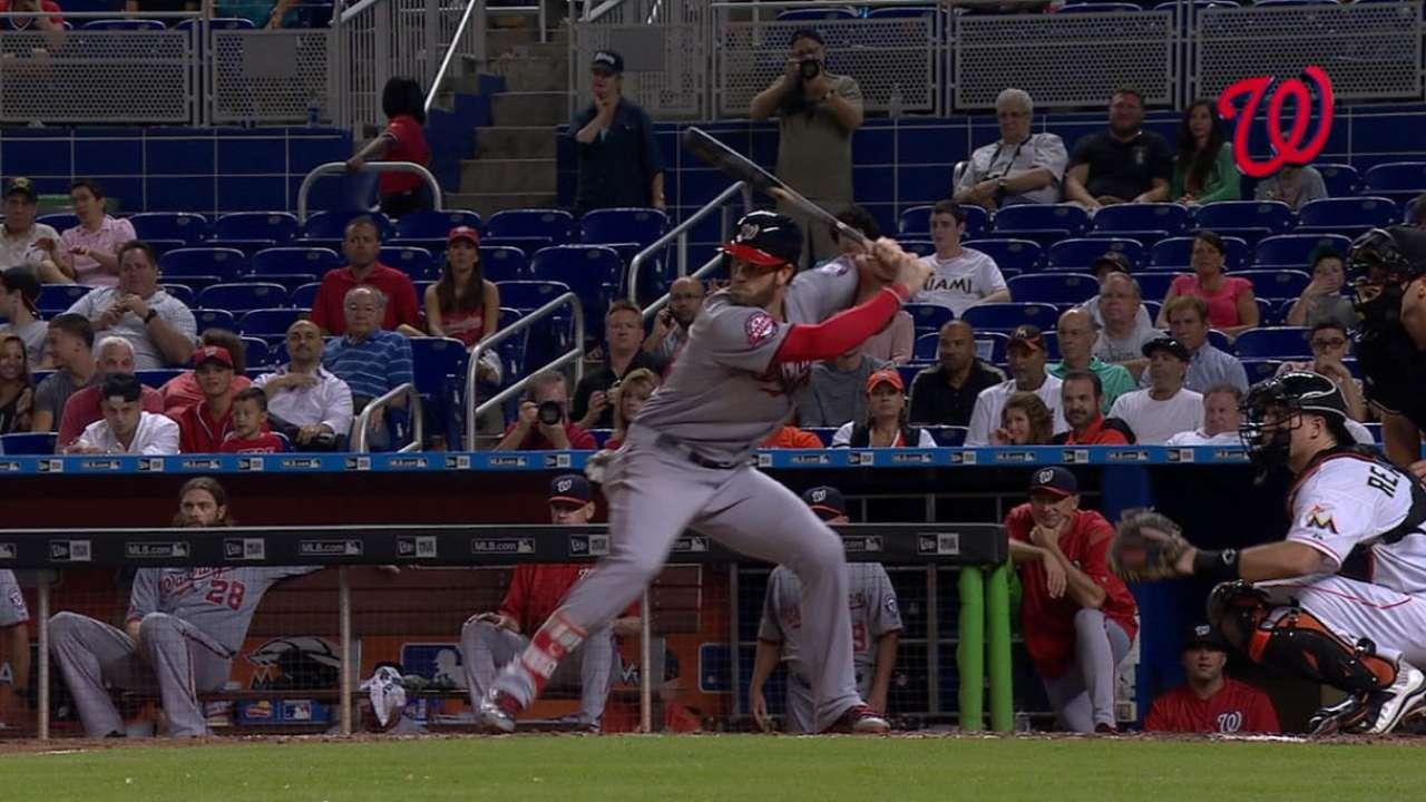 Harper hits upper deck twice to take NL homer lead