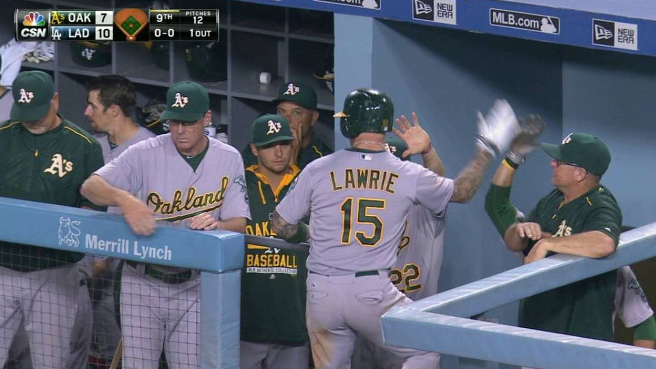 Lawrie's career night isn't enough for A's