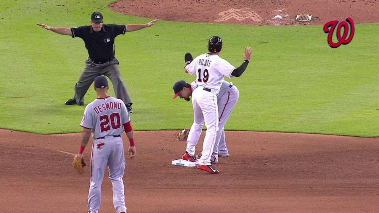 Rojas advances on wild pitch