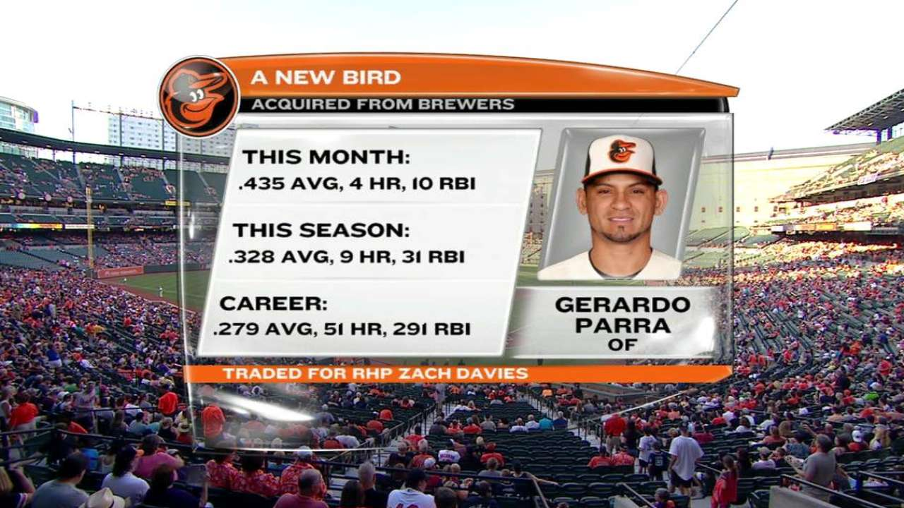 Orioles booth on Parra trade