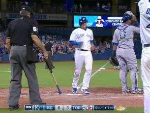 KC@TOR: Goins scores on error after a base hit