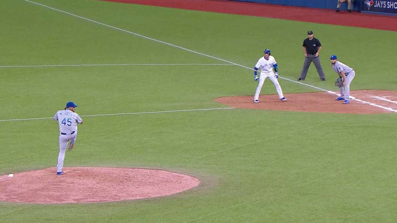 Tulo goes to second on a balk
