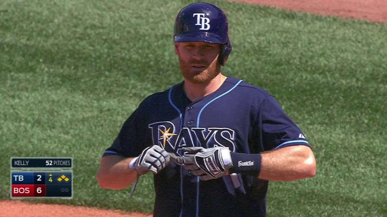 Moore struggles early as Rays fall in Boston