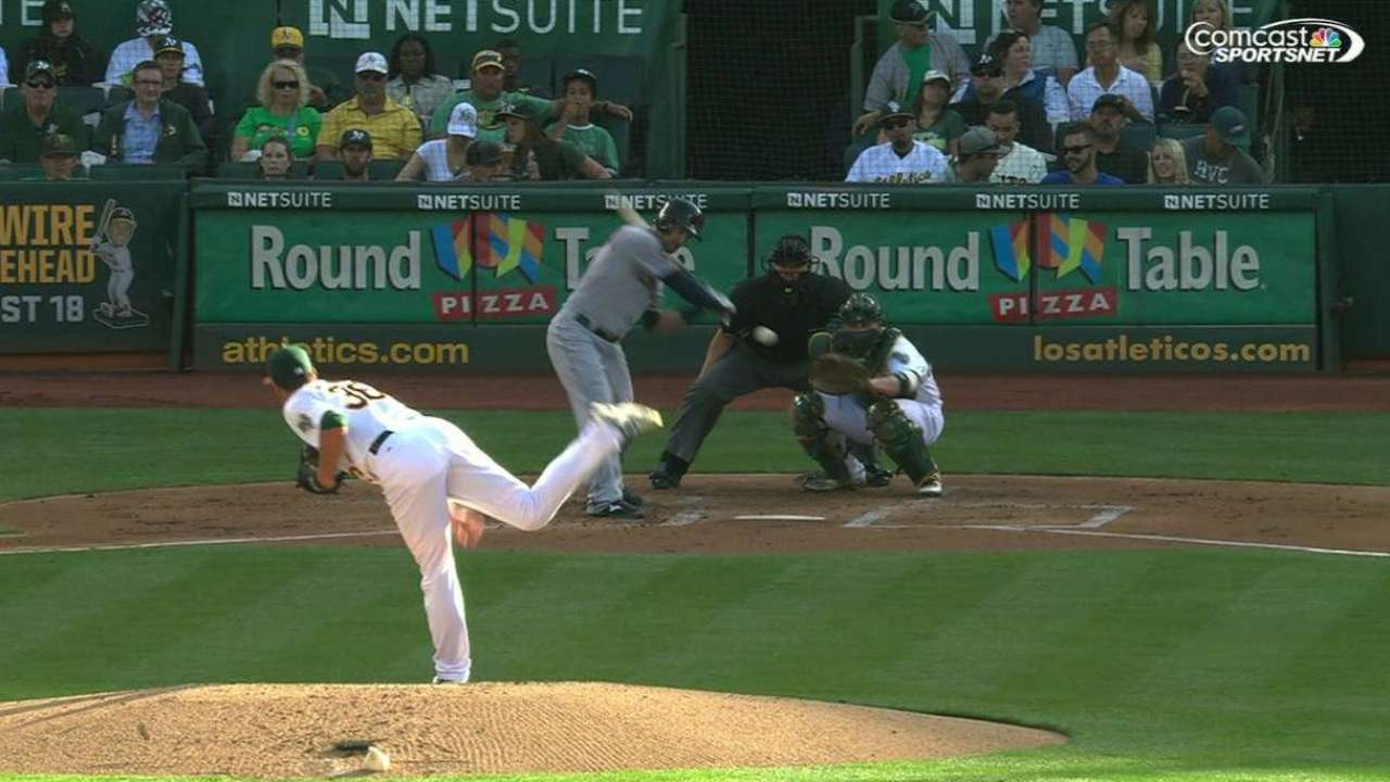 Brooks' first A's strikeout
