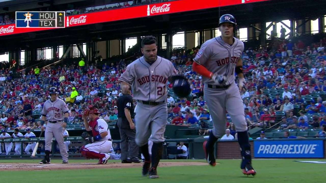 Astros belt three HRs in loss to Rangers